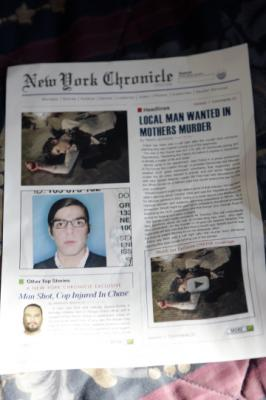 "HEROES - ""Local Man Wanted In Mothers Murder"" Newspaper in ""Truth and Consequences"""