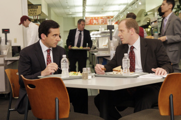 "THE OFFICE - Steve Carell as Michael Scott and Paul Lieberstein as Toby in ""The Deposition"""