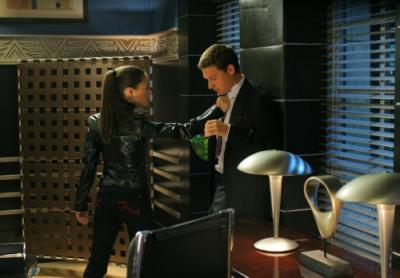 """SMALLVILLE - Kristin Kreuk as Lana Lang and Michael Cassidy as Grant in """"Wrath"""" on the CW"""