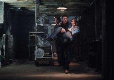 "SUPERNATURAL - Jensen Ackles as Dean Winchester, Jared Padalecki as Sam Winchester and Katie Chapman as girl in ""Fresh Blood"""