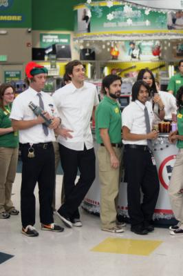 "CHUCK - Scott Krinsky as Jeff, Zachary Levi as Chuck Bartowski, Joshua Gomez as Morgan Grimes, Vik Sahay as Lester, and Julia Ling as Anna Wu in ""Chuck vs. The Crown Vic"""