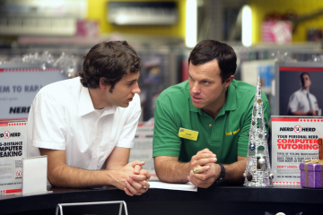 "CHUCK - Zachary Levi as Chuck Bartowski and Adam Baldwin as Major John Casey in ""Chuck vs. The Crown Vic"""