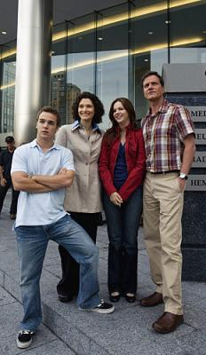 THE RUSSELL GIRL - Daniel Clark as Daniel Russell, Amber Tamblyn as Sarah Russell, Mary Elizabeth Mastrantonio as Gayle Russell, and Tim DeKay as Phil Russell on CBS