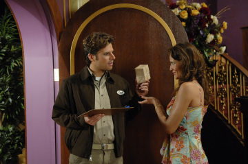 "PSYCH - James Roday as Shawn Spencer and Gizza as Anita in ""Lights, Camera, Homicido"""