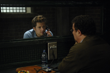 "PSYCH - James Roday as Shawn Spencer and Saul Rubinek as Lance in ""Lights, Camera, Homicido"""
