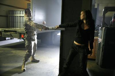 """TERMINATOR: THE SARAH CONNOR CHRONICLES - Brian Bloom as a terminator and Summer Glau as Cameron in """"Heavy Metal"""""""