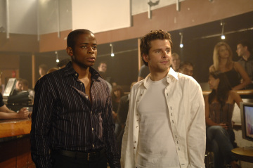 """PSYCH - Dule Hill as Burton 'Gus' Guster and James Roday as Shawn Spencer in """"Black & Tan - A Crime of Fashion"""""""