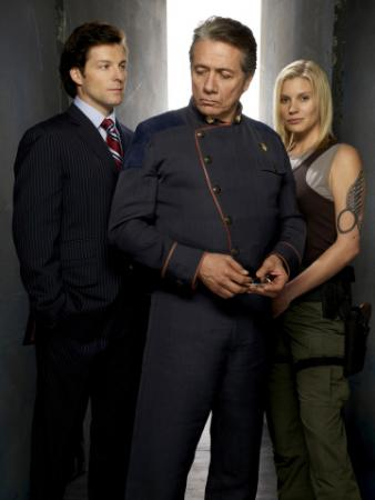 "BATTLESTAR GALACTICA - Jamie Bamber as Lee ""Apollo"" Adama, Edward James Olmos as Admiral William Adama, Katee Sackhoff as Kara ""Starbuck"" Thrace"