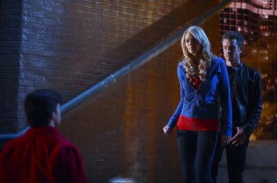 "SMALLVILLE - Tom Welling as Clark Kent, Laura Vandervoort as Kara,and James Marsters as Brainiac in ""Veritas"""