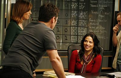 "NUMB3RS - Diane Farr as Megan, Rob Morrow as Don, and Navi Rawat as Amita in ""Black Swan"""