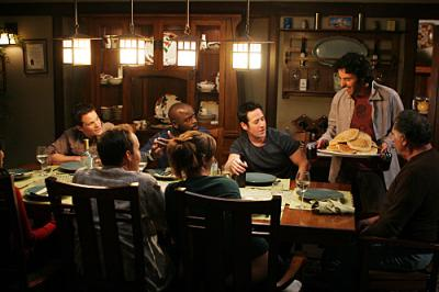 "NUMB3RS - Dylan Bruno as Colby Granger, Alimi Ballard as David Sinclair, Rob Morrow as Don Eppes, Judd Hirsch as Alan Eppes, Diane Farr as Megan Reeves, Peter MacNicol as Larry Fleinhart in ""Black Swan"""