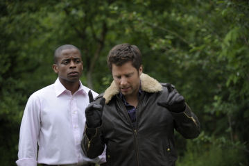 """Psych - Dule Hill as Burton \""""Gus\"""" Guster, James Roday as Shawn Spencer"""