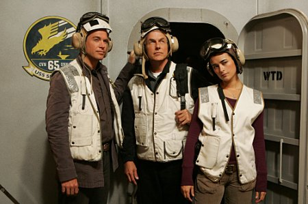 (Michael Weatherly, left, Mark Harmon, center and Cote de Pablo, right)