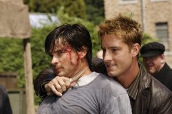 Smallville - Tom Welling as Clark Kent and Justin Hartley as Oliver Queen