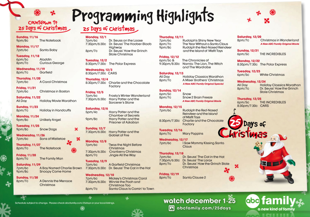25 days of christmas 2008 program - Abc 25 Days Of Christmas