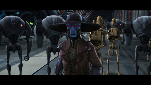 Merciless Bounty Hunter Cad Bane leads his droids to battle the Jedi in the second season of STAR WARS: THE CLONE WARS