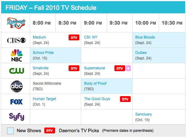 Friday Fall 2010 TV Daily Schedule - Daemon's TV
