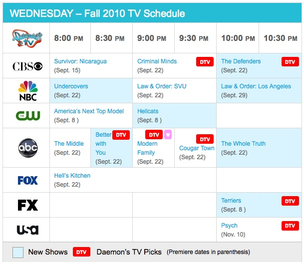 Wednesday Fall 2010 TV Daily Schedule - Daemon's TV