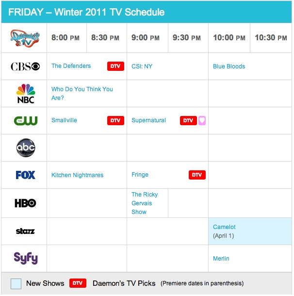 Friday Winter 2011 TV Daily Schedule - Daemon's TV