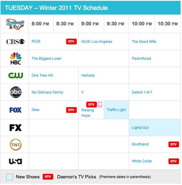 Tuesday Fall 2010 TV Daily Schedule - Daemon's TV