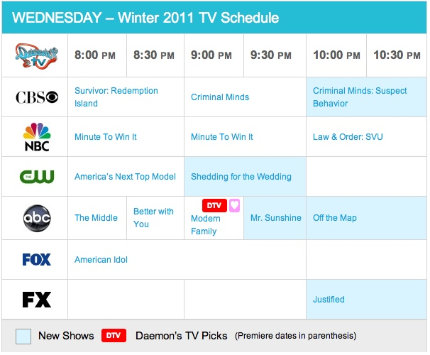 Wednesday Winter 2011 TV Daily Schedule - Daemon's TV