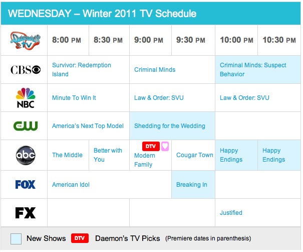 Wednesday Spring 2011 TV Daily Schedule - Daemon's TV