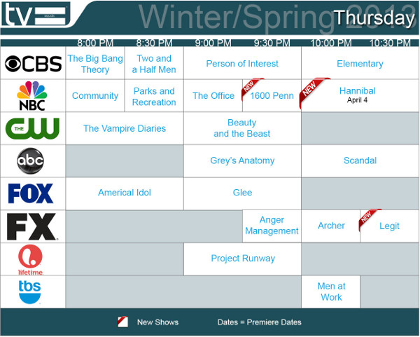 TV Schedules Winter Spring 2013 Thursday 2