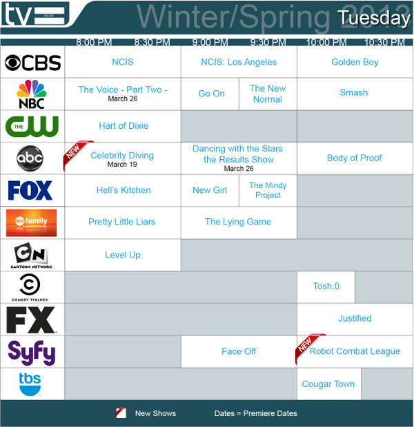 TV Schedules Winter Spring 2013 Tuesday 2