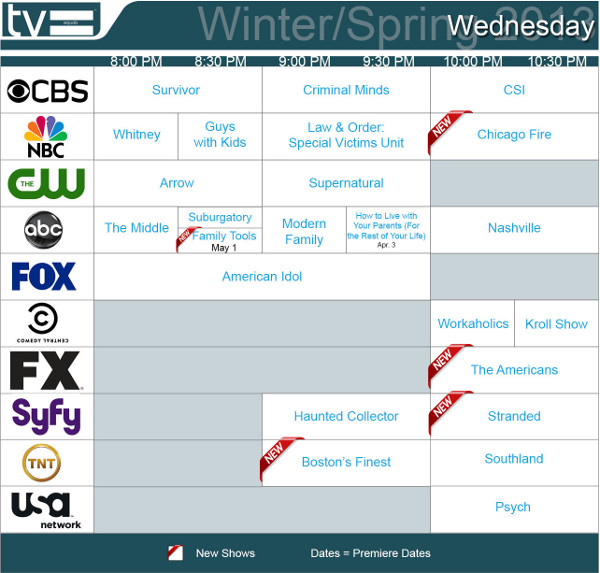 TV Schedules Winter Spring 2013 Wednesday 2