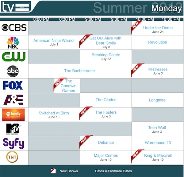 TV Equals Schedules Summer 2013 Monday