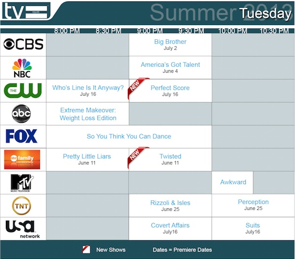 TV Equals Schedules Summer 2013 Tuesday