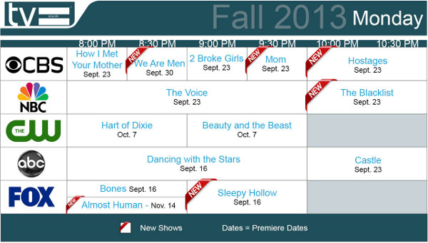 TV Equals Schedules Fall 2013 Monday