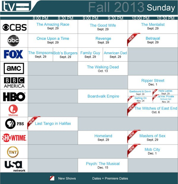 TV Equals Schedules Fall 2013 Sunday