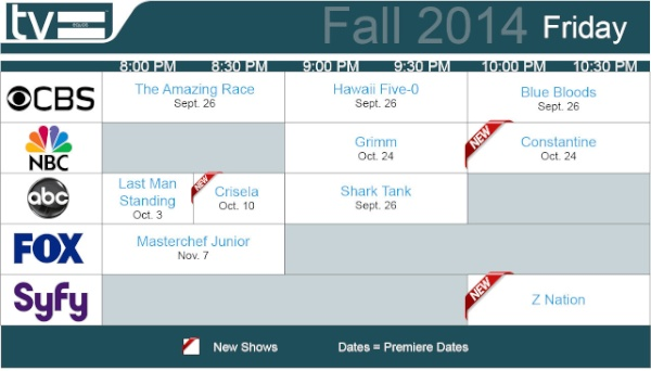 TV Schedules Fall 2014 Friday