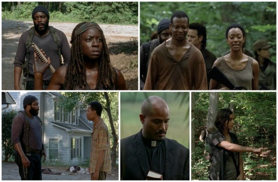 Tyreese, Michonne, Sasha, Bob. Noah, Gabriel, Tara - The Walking Dead