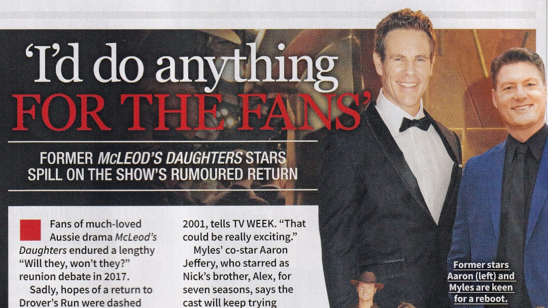 """TV WEEK: """"I'd do anything for the fans"""" McLeod's Daughters 1st July 2018"""