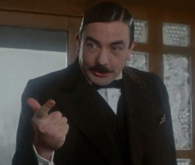 For The 1974 Big Screen Murder On The Orient Express Albert Finney Went Classic Poirot Huge Dyed Black Pomaded And Curled With Tongs