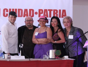 "Angel ""Amer"" Mercado, writer, director and producer, Rafael Mediavilla writer, creative screenwriting lab and creator of The Horror Festival of Puerto Rico next to Mexican writer Bethel Flores, Amanda Ospina journalist and Summit producer with Carmen Mirabal author of De una Diva en Decadencia and film producer."