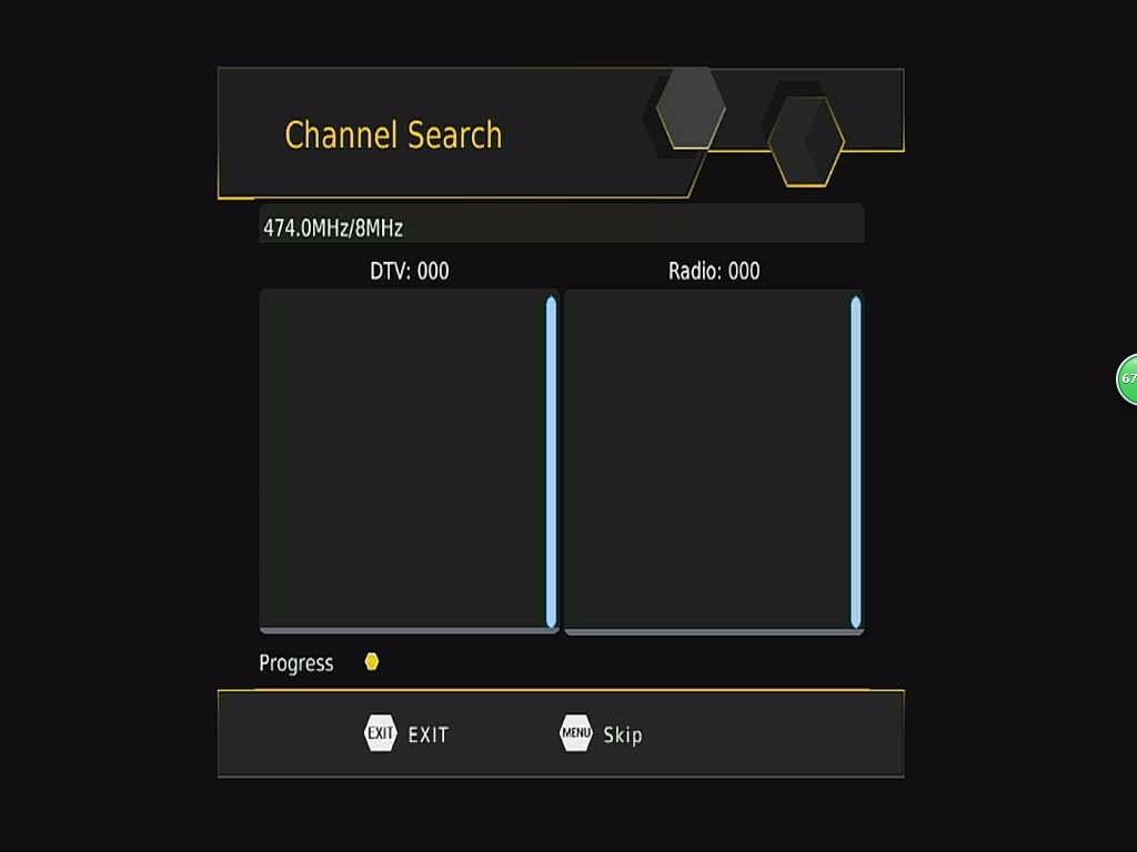DVB-T265 Channel Auto Search OSD menu