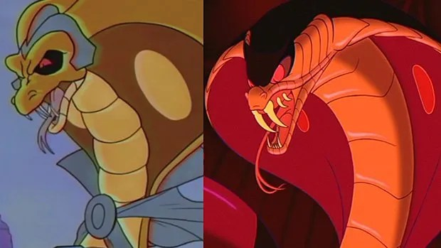 Le cobra dans Kung Fury (à gauche) et dans Aladdin (à droite)