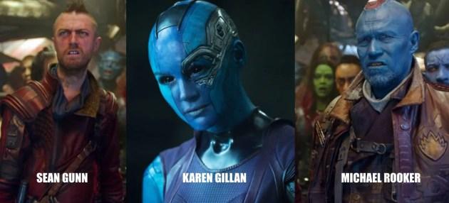 Sean Gunn, Karen Gillan et Michael Rooker du film Les gardiens de la galaxie