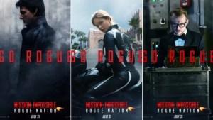 Affiches promotionnelles des personnages pour le film Mission: Impossible - Rogue Nation (2015).