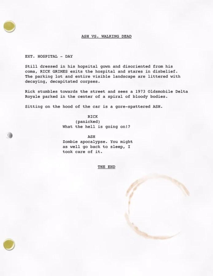 Ash vs Evil Dead et The Walking Dead script
