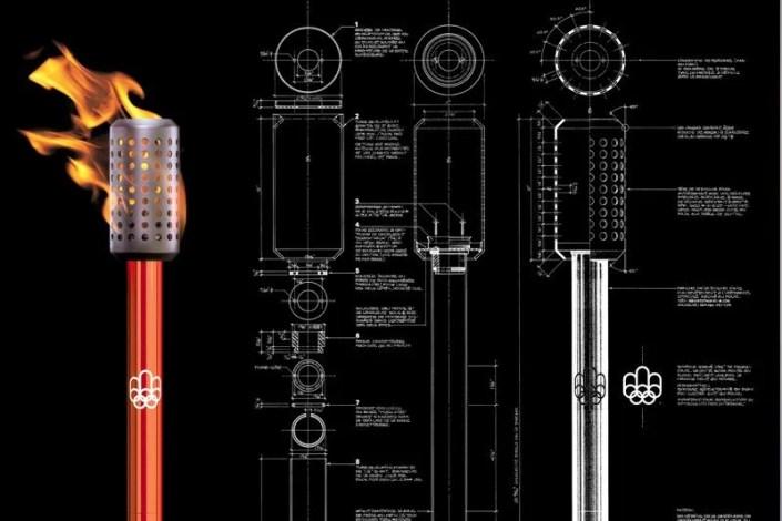 Torche officielle et dessin technique des Jeux olympiques de Montréal 1976