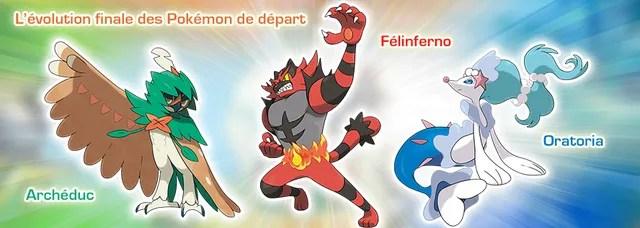Les formes finales des starters de Pokémon Soleil et Lune