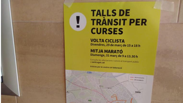 Talls de trànsit per la Volta Catalunya i la Mitja Marató