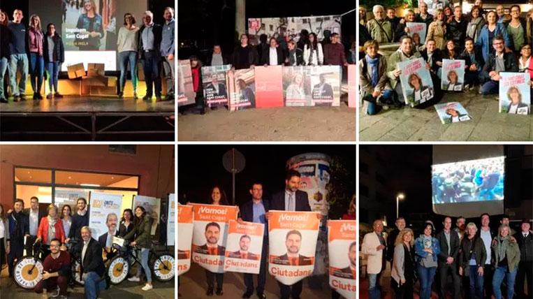 Els partits enganxen els cartells electorals