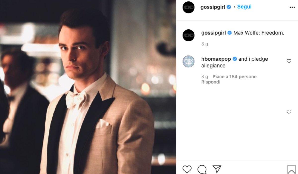 Thomas Doherty interpreta Max Wolfe In Gossip Girl 2021: Foto postata sul Profilo Instagram Ufficiale della serie