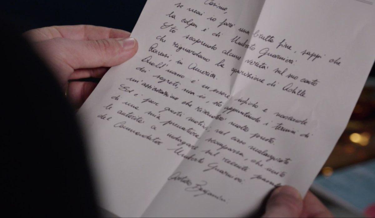 Il Paradiso Delle Signore 5, puntata 135: la lettera di Arturo Bergamini al figlio Cosimo Bergamini per invitarlo a indagare su Umberto Guarnieri. Credits: Rai