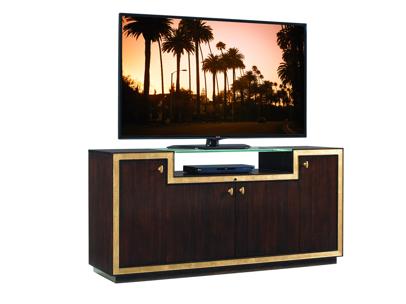 Sligh Bel Aire Palisades Media Console In Brushed Brass